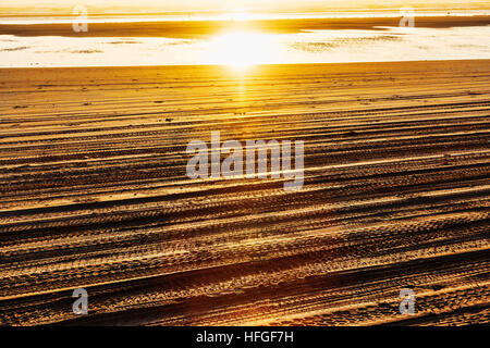 Tire tracks on beach.  Grayland Beach, on the central Washington Paciific Coast south of Westport at sunset. - Stock Photo