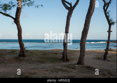 La Cambuse Beach located near the village of Mon Desert, in the southeast part of Mauritius. - Stock Photo