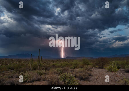 Lightning strikes in the Four Peaks wilderness during a summer thunderstorm. - Stock Photo