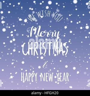 We wish you Merry Christmas and Happy New year lettering design. Fuzzy snow background. Vector illustration. - Stock Photo