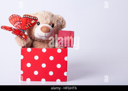 Bear toy and giftsl, Selective focus and small depth of field - Stock Photo