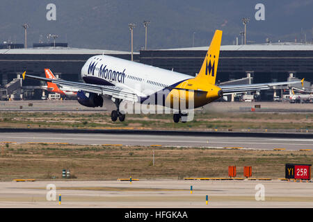 Monarch Airlines Airbus A321 landing at El Prat Airport in Barcelona, Spain. - Stock Photo