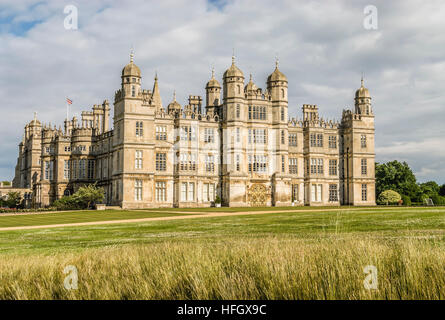 Burghley House, a grand 16th-century English country house near the town of Stamford in Lincolnshire, England. - Stock Photo