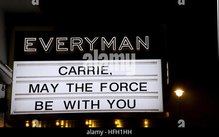 London, England, UK; 30th December 2016; Tribute to 'Carrie Fisher' who died on 27th December 2016, starred as 'Princess - Stock Photo