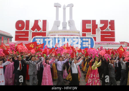 Beijing, China. 10th May, 2016. Citizens take part in a mass rally and parade in central Pyongyang, the Democratic - Stock Photo