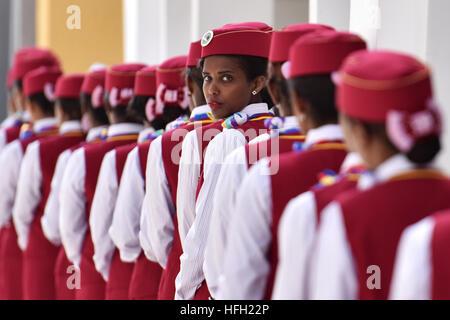 Beijing, Ethiopia. 5th Oct, 2016. Ethiopian attendants participate in the opening ceremony of Ethiopia-Djibouti - Stock Photo