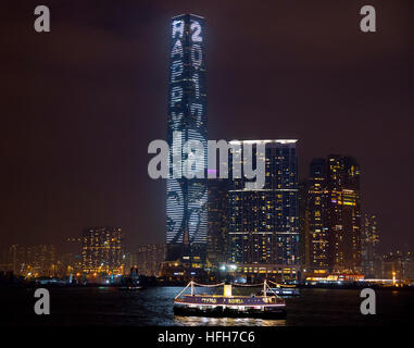 Hong Kong. 1st January, 2017. Hong Kong's tallest building, The International Commerce Center ICC lighting for new - Stock Photo