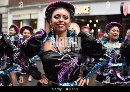 London, UK. 1st January, 2017. Bolivian Dancers performing during London New Year's Parade Credit: Pietro Recchia/Alamy - Stock Photo