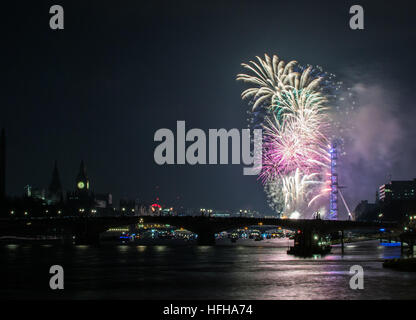 London, Uk, 1st January 2017, London is welcoming New Year. - Stock Photo