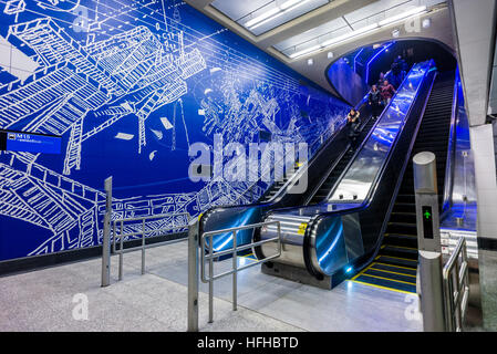 New York, USA 1 January 2017 - After nearly a century the Second Avenue Subway finally opened to the public on New - Stock Photo