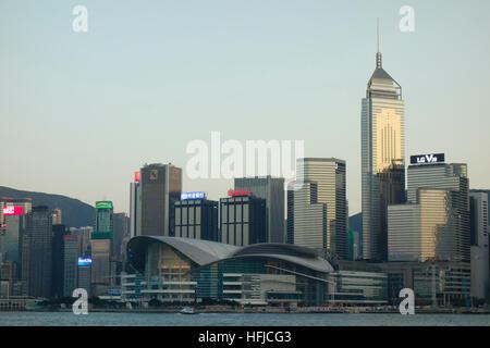 Hong Kong, China city skyline at night. - Stock Photo