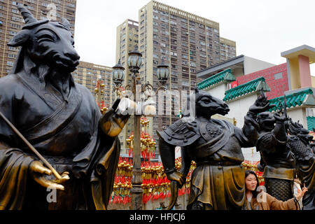 Chinese Zodiac statues at Sik Sik Yuen Wong Tai Sin Temple Kowloon in Hong Kong, China. - Stock Photo