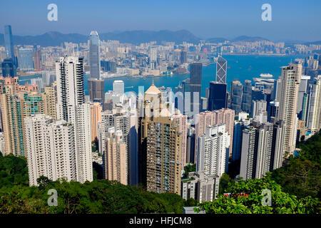 Hong Kong skyline. Panoramic view of Hong Kong from the Peak. - Stock Photo