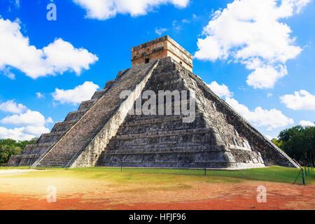 Central structure of Castillo, in the ancient Mayan temple of Chichen Itza, Yucatan, mexico - Stock Photo