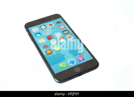 iPhone 7 plus mobile phone 2016  without headphone jack - Stock Photo
