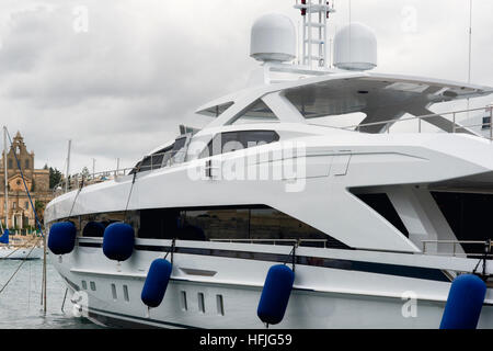 Super yacht moored at Manoel Island, Malta - Stock Photo