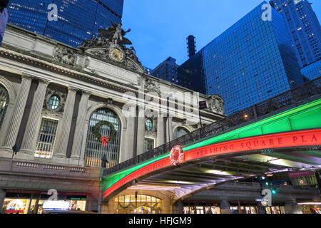 Pershing Square Holiday Lights in New York City, USA - Stock Photo