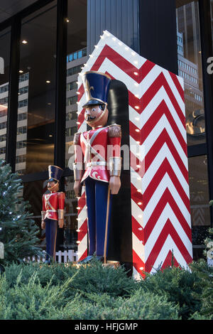 Giant Toy Soldier Holiday Display in New York City, USA - Stock Photo