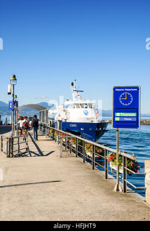 CGN Coppet, a modern diesel passenger boat moored at Ouchy, Lausanne, Vaud, Switzerland - Stock Photo