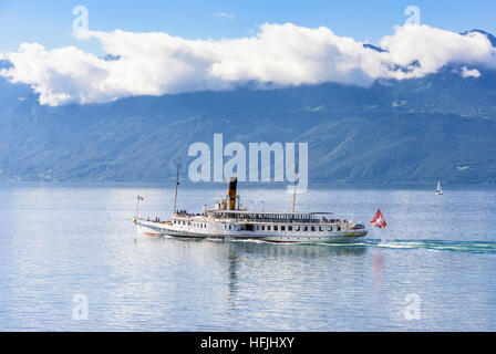 The Belle Epoque paddle steamer La Suisse leaves, Lausanne on Lac Leman, Switzerland - Stock Photo