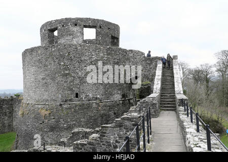 Stairs leading to round tower at Dinefwr Castle, Llandeilo Carmarthenshire Wales UK  KATHY DEWITT - Stock Photo