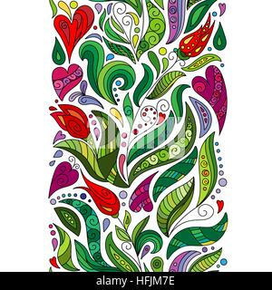 Coloring Book Pattern Vector Doodle Illustration Flowers Seamless Border Zentangle Style Decorative Element