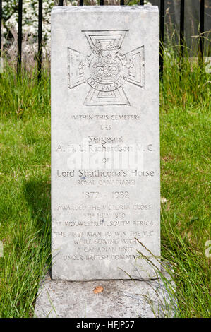 Memorial to Sergeant A.H.L. Richardson V.C, awarded the Victoria Cross for bravery at Battle of Wolwespruit in the - Stock Photo