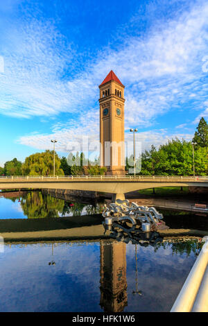Spokane, Washington - August 6, 2014: Clock Tower in Riverfront park is one of the biggest in the Northwest. - Stock Photo