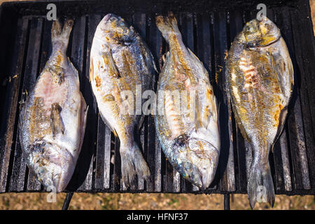 Bream fresh sea fish on grill view - Stock Photo