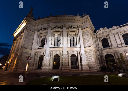 Beautiful view of historic burgtheater imperial court theatre in the evening, vienna, austria - Stock Photo