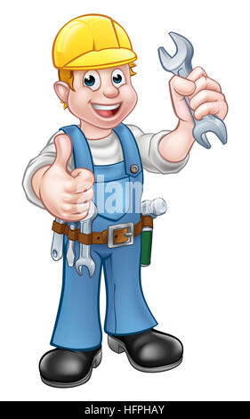A handyman mechanic or plumber cartoon character holding a spanner and giving a thumbs up - Stock Photo