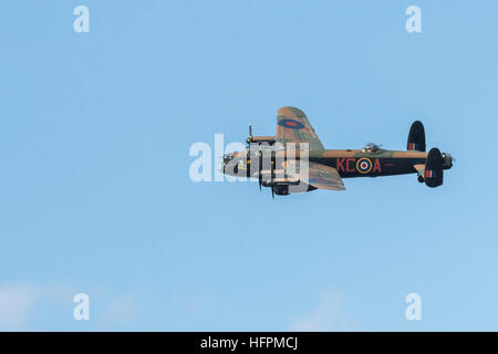 RAF Avro Lancaster B1 PA 474 Battle of Britain Memorial Flight bomber displaying at the Airshow - Stock Photo