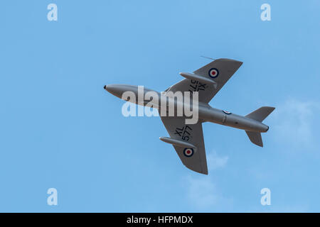 The RAF Hawker Hunter T.7 jet fighter displaying to the crowd at the airshow - Stock Photo