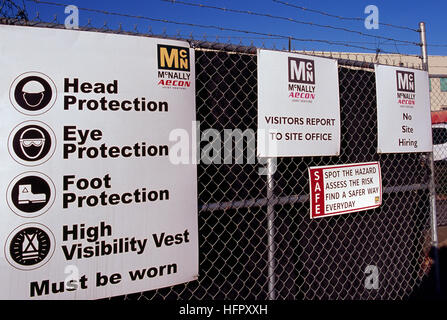 Construction Site Safety Sign - Rules and Regulations for Worker Protection posted on Fence at Building Work Site - Stock Photo