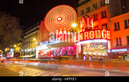 Paris, France-December 28; 2016 : The cabaret Moulin Rouge is located close to Montmartre in the Paris district - Stock Photo