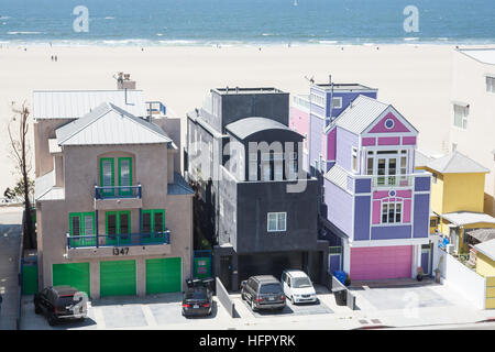 Housing,homes along Santa Monica Beach,Los Angeles,L.A., National Highway 1,Pacific Coast Highway,PCH, California,U.S.A., - Stock Photo