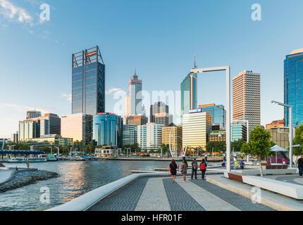 View across to the waterfront precinct of Elizabeth Quay to the city skyline beyond, Perth, Western Australia, Australia - Stock Photo
