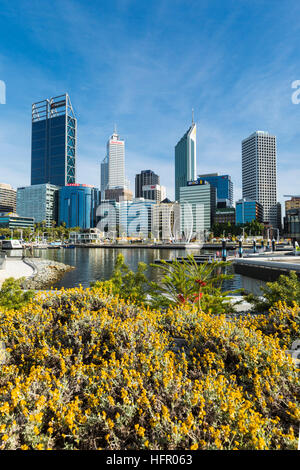 View across Elizabeth Quay to the city skyline, Perth, Western Australia, Australia - Stock Photo