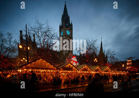 Manchester German Christmas Markets 2016 at Albert Square Manchester Town Hall. - Stock Photo