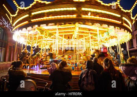Ashton Tameside Christmas carousel ride   Christmas winter festive festival Christian holidays happy occasion December - Stock Photo