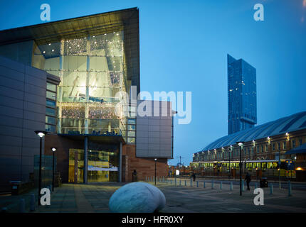 Manchester Bridgewater Hall    Dusk Dawn evening daybreak night exterior concert venue Hallé orchestra symphony - Stock Photo