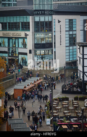 Manchester landmark view Harvey Nichols  Markets in Exchange Square area shambles department store Shops shopping - Stock Photo