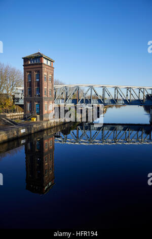 Manchester  Ship Canal Barton Swing Aqueduct  moveable navigable aqueduct carries Bridgewater Canal narrowboats - Stock Photo