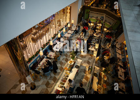 Manchester Selfridges restaurant interior   seating food much eating Elevated viewhigh viewpoint above Ariel Restaurant - Stock Photo