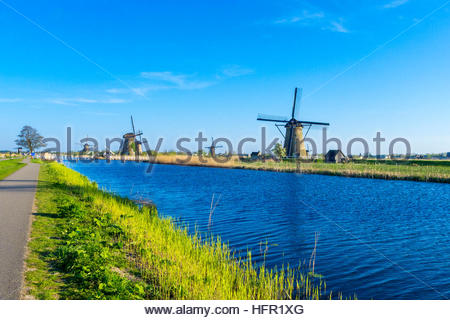 Netherlands, South Holland, Kinderdijk. Historic Dutch windmills on the polders, UNESCO World Heritage Site. - Stock Photo