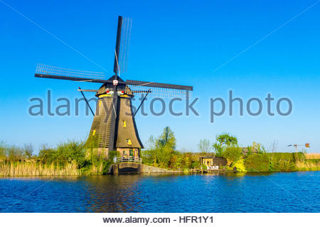 Netherlands, South Holland, Kinderdijk. Historic Dutch windmills on the polders, UNESCO World Heritage Site. - Stock Photo