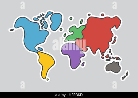 Doodle style world map look like children craft painting stock doodle style world map look like children craft painting stock photo gumiabroncs Gallery