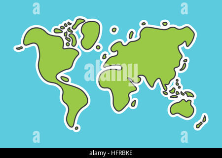 Map of the world illustration simple outline gradient colors stock doodle style world map look like children craft painting stock photo gumiabroncs Choice Image