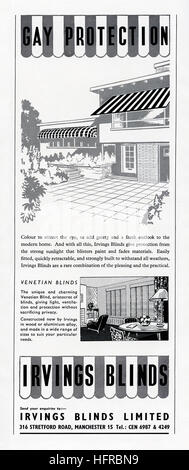 A 1950s advert for Irvings Blinds. It appeared in a magazine published in the UK in 1956 - Stock Photo