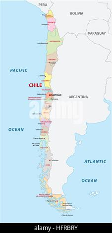 Chile Political Map With Capital Santiago National Borders And - Political map of chile